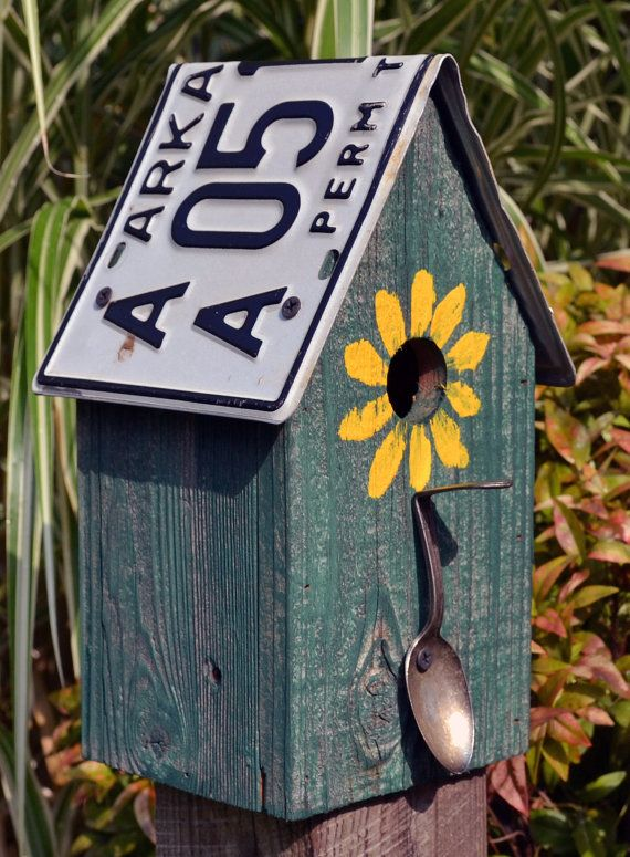Rustic Birdhouse Spoon Birdhouse License Plate by ruraloriginals