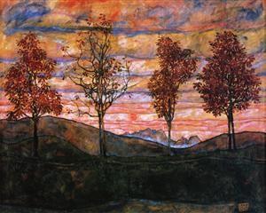 Quattro alberi, 1917, olio su tela, Österreichische Galerie Belvedere, Vienna, Austria