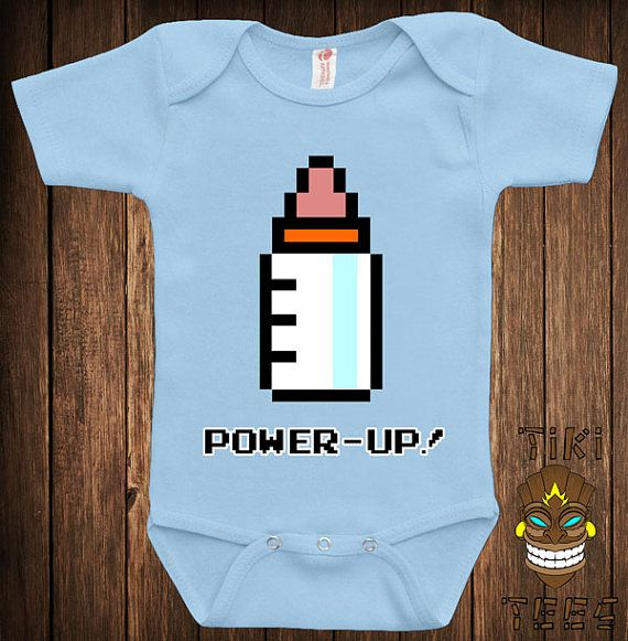 Funny 8-Bit Power Up Baby Bodysuit Baby Child Infant One-piece Cute Retro Video Game Arcade Gamer School Geek Nerd Joke Awesome Cute on Etsy, $15.00