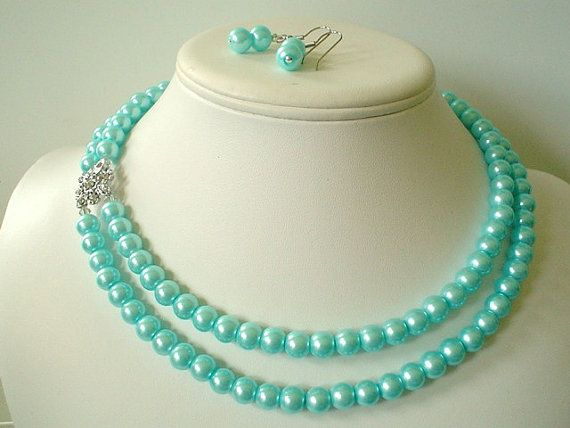 Hey, I found this really awesome Etsy listing at https://www.etsy.com/listing/210407339/two-strand-tiffany-blue-pearl-with