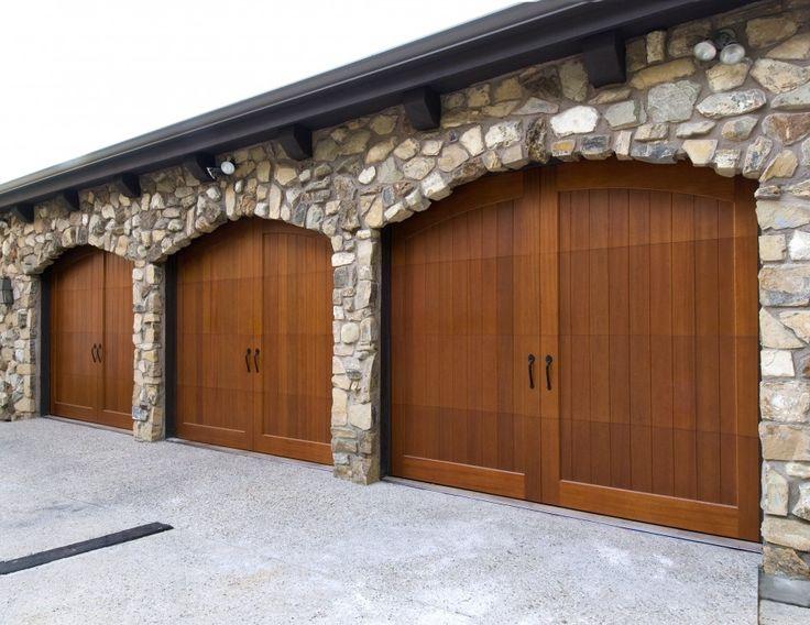 Decoration Agreeable Wood Garage Doors Design In Brown Color And Dark Knop Also Natural Stone Wall Wood Garage D Puerta De Madera Puertas Principales Casitas