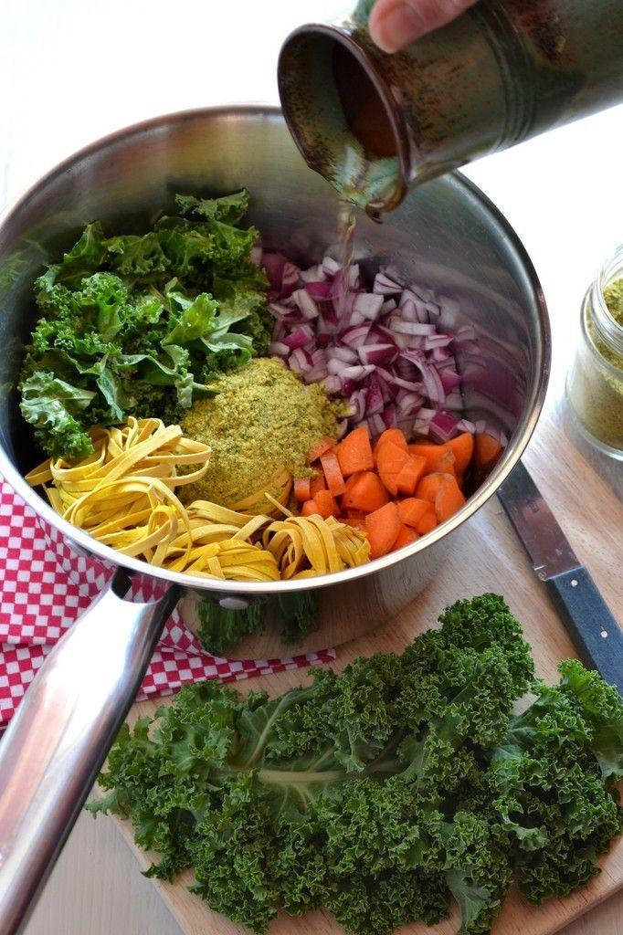 One pot pasta au chou kale et carottes