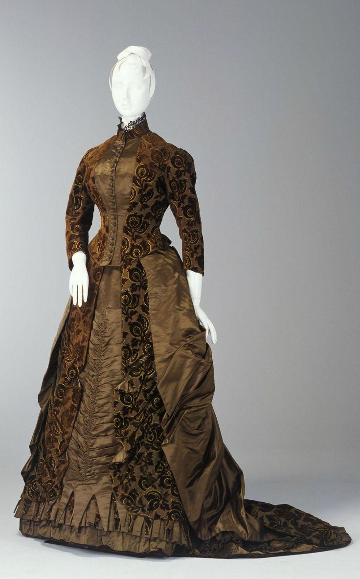 Circa 1885 Day Dress:  corded silk, silk satin, and cut velvet, English.  Via Powerhouse Museum.