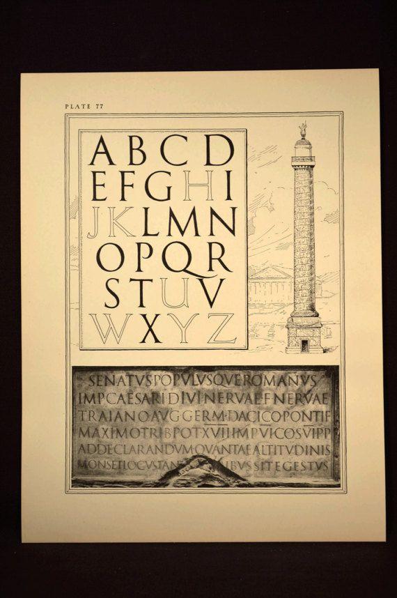 Lettering Print Roman Letters Ephemera Calligraphy Sample