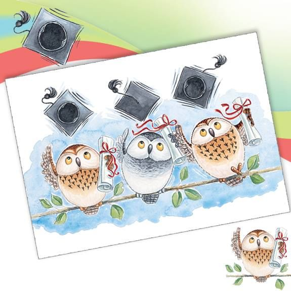 A153 Graduation.  Phoenix Trading greeting card.  Blank.  £1.75 or £1.40 each when you buy 10+ cards of any design.