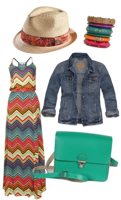 Cool Colorful Maxi Dress. I like the denim jacket with it. MEXICO AIRPORT LOOK :)