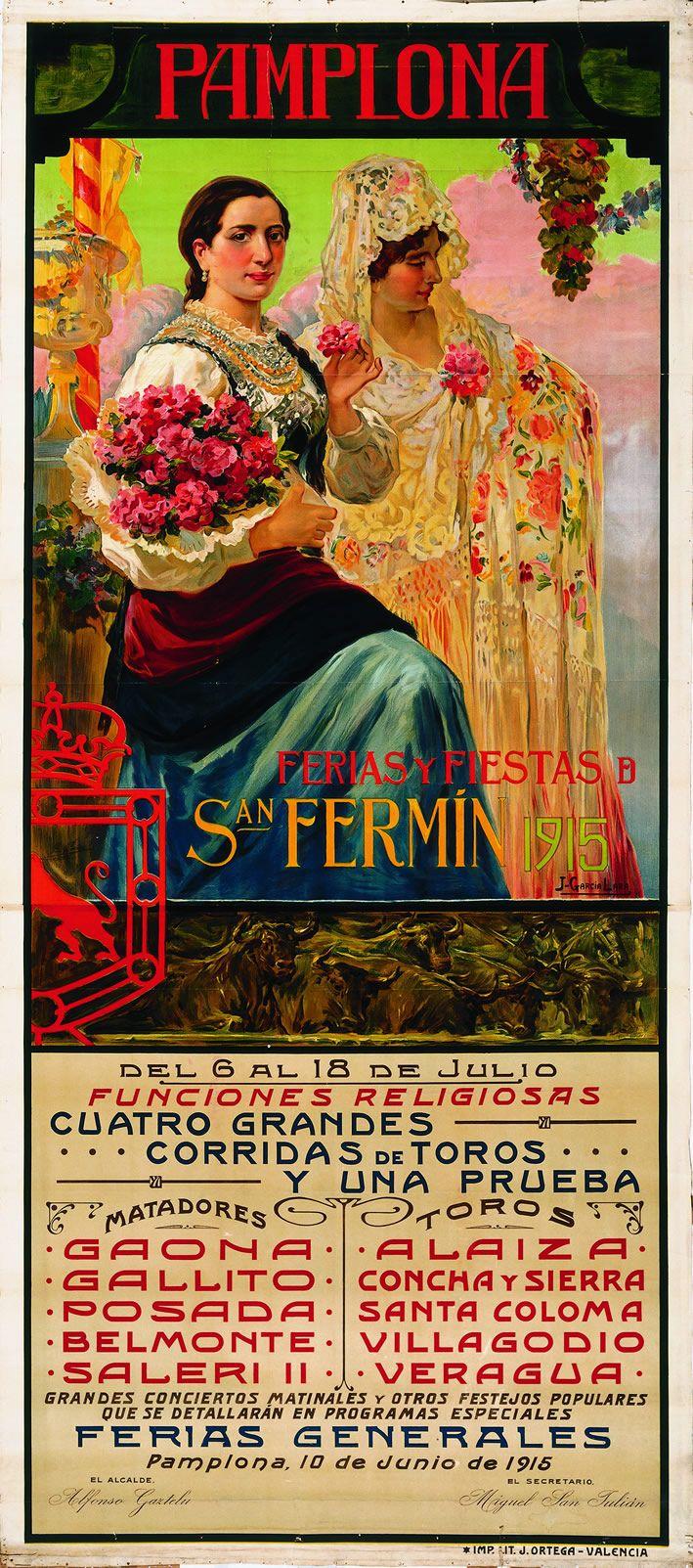 Cartel de los Sanfermines de 1915 - Ferias y fiestas de San Fermín, Pamplona :: Autor: Juan García de Lara.