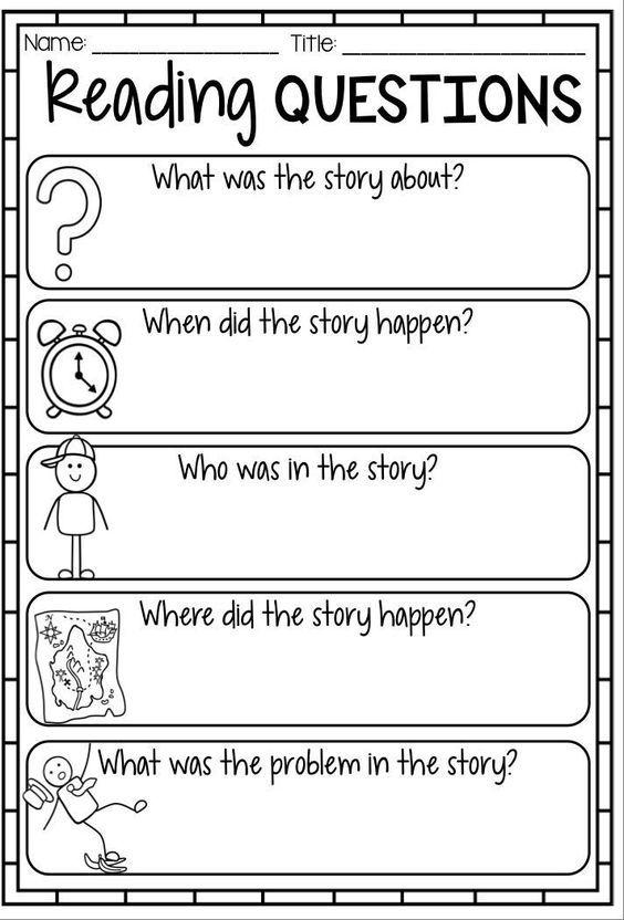 Reading Questions In 2021 Reading Response Worksheets Reading Response Reading Worksheets Reading response worksheets kindergarten