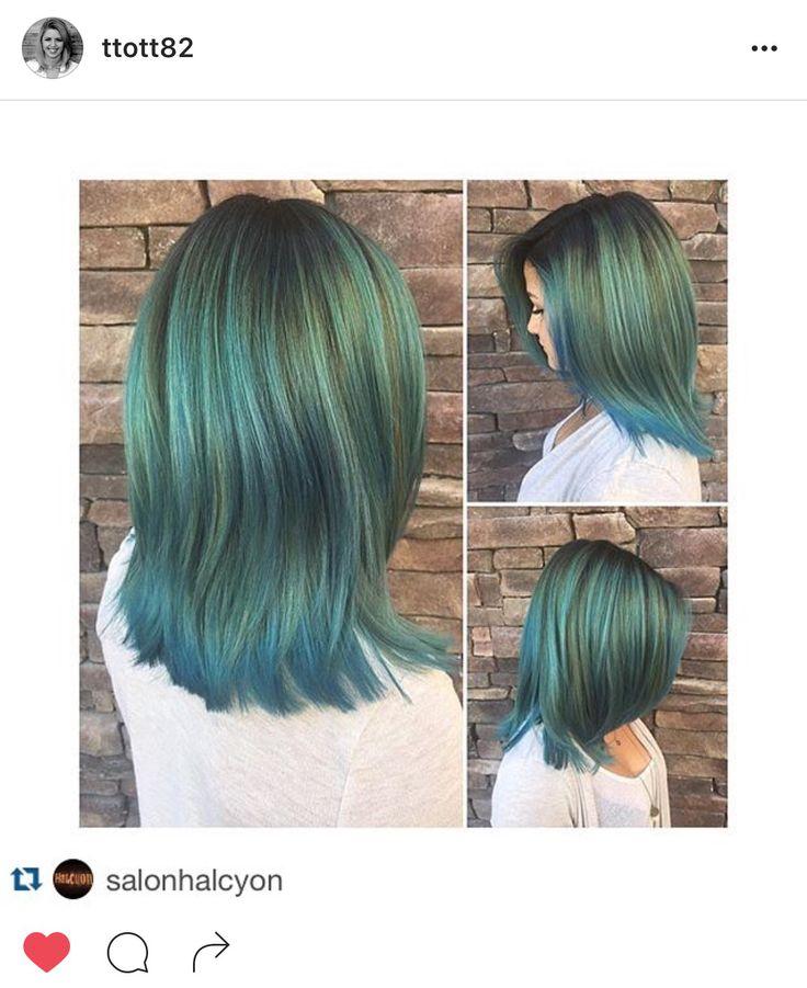 #taylormadehair Taylor Roberts (@ttott82) Halcyon Salon & Spa (@salonhalcyon) rainbow, green, blue, aqua, teal, hair, Aveda, Pravana