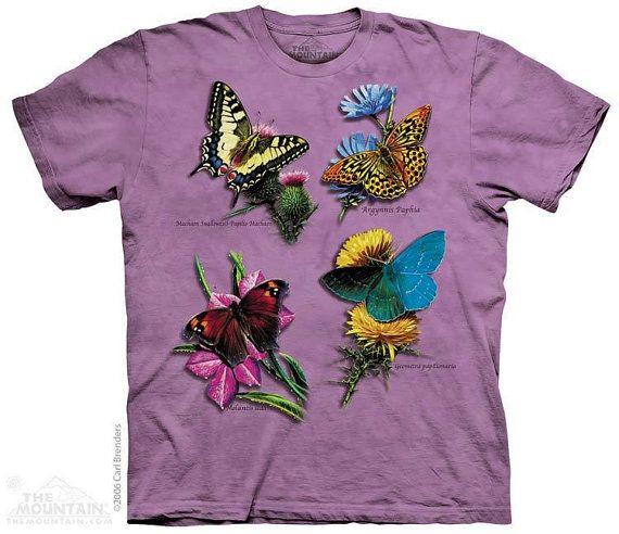 woman's tshirt butterfly stonewashed multicolored by LIBERTYHORSE, $10.99