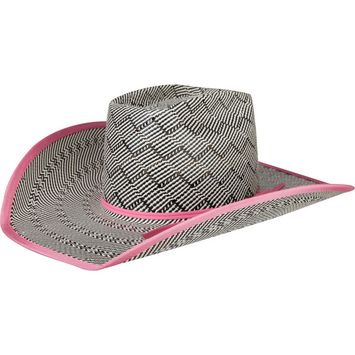 Black & White American Hat Co.Pink Band & Bound Edge Straw Cowboy Hat