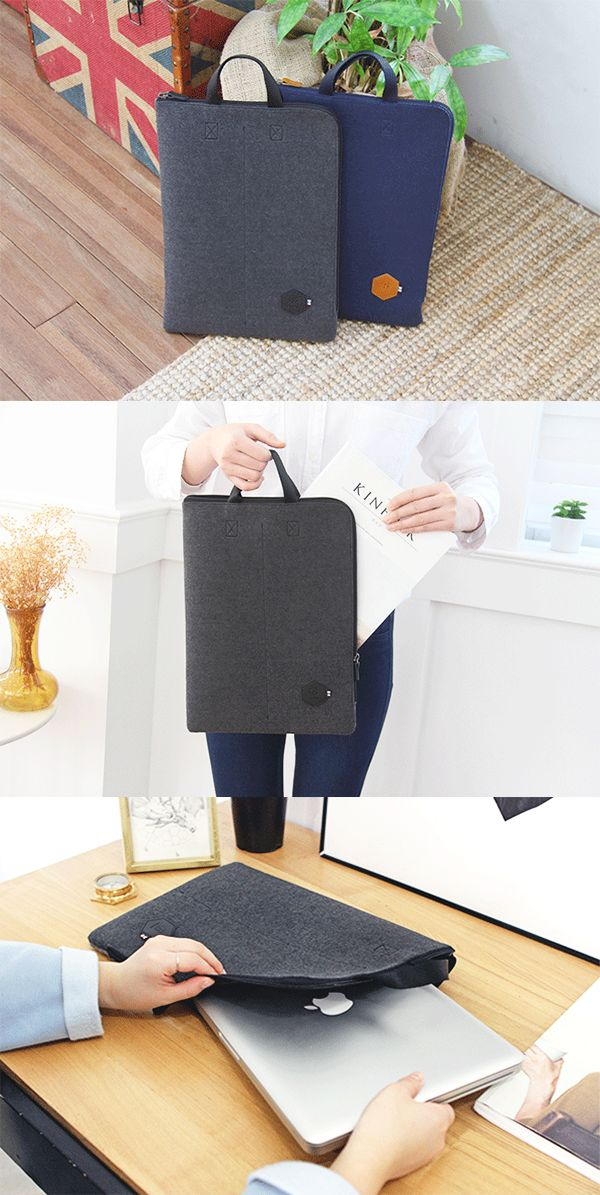 Craving a sophisticated, reliable & fashionable laptop pouch for work? The Two-tone Felt Strap Laptop Pouch is just the one for you!