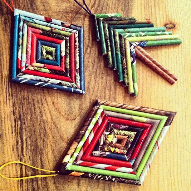 Recycled magazine ornaments made by Cassie Eshelman.