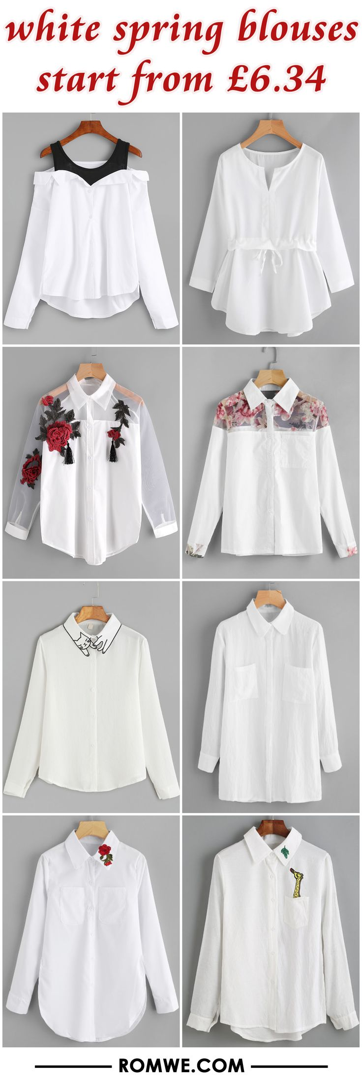 white spring blouses from £6.34