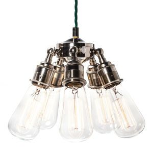 Maria Steampunk Five Lamp Holder Silver Pendant - ceiling lights