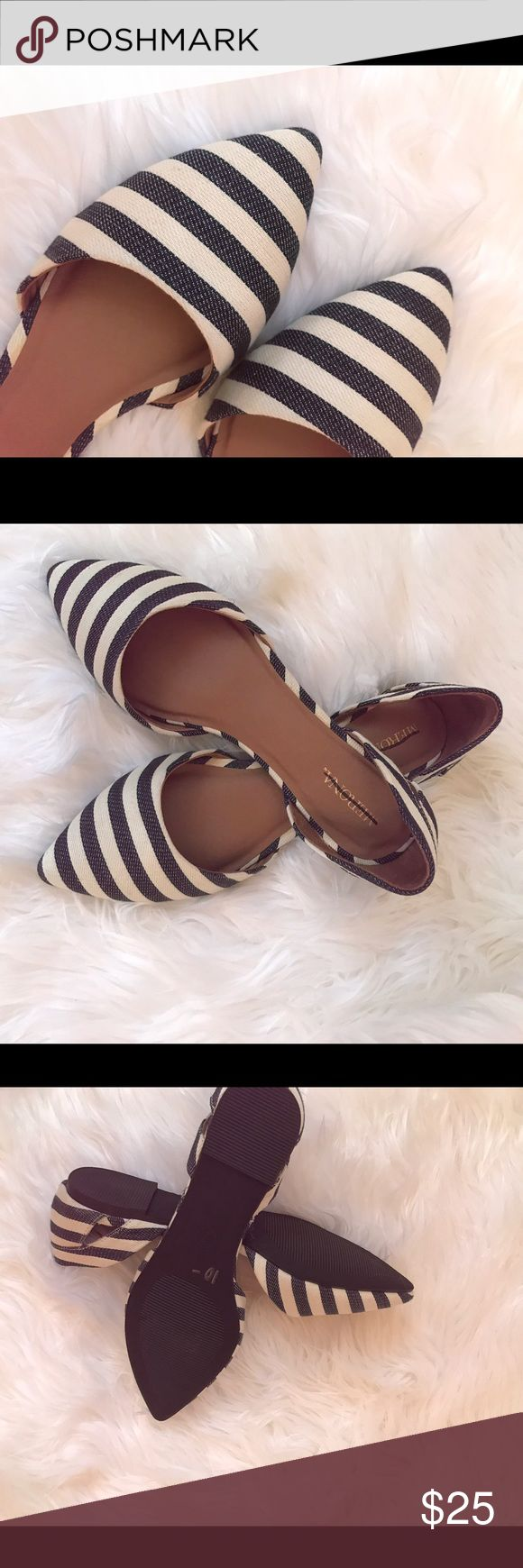 Blue and white striped d'Orsay flats Very cute blue and white striped flats that will complete a variety of looks. Shoes Flats & Loafers