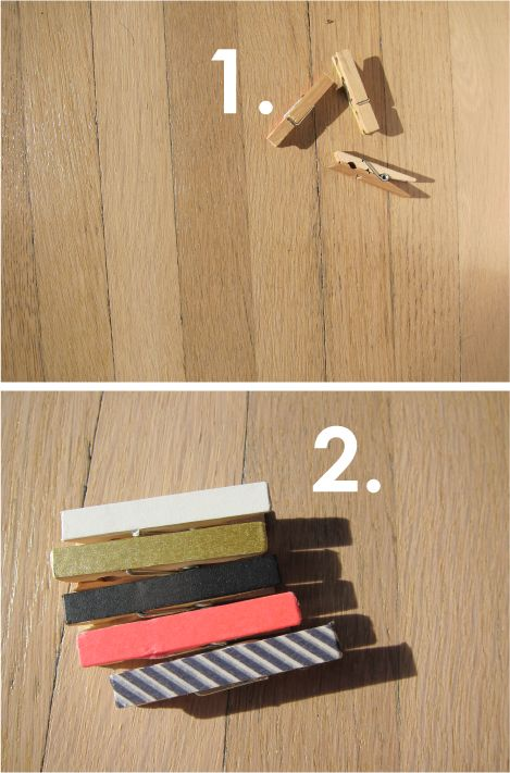 washi covered mini clothespins