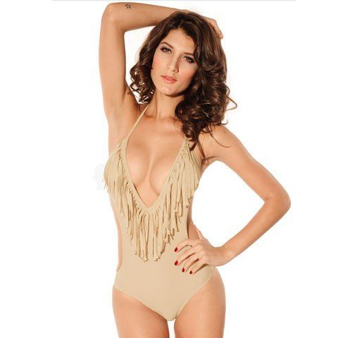 Sexy Halter Fringe Solid Color Cut Out Women's Swimwear if it were a different color!