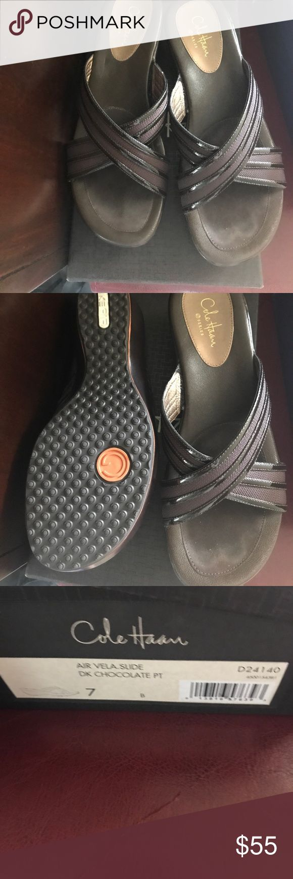 Cole Haan Nike Air slide sandal EUC and worn once Cole Haan Nike Air slide sandal in chocolate brown. Cole Haan Shoes