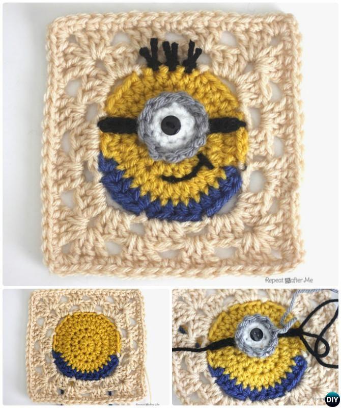 Crochet Minion Granny Square Free Pattern
