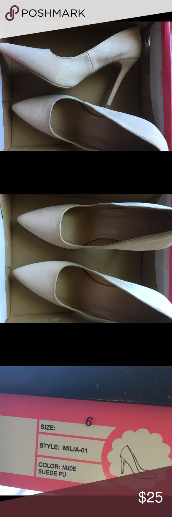 Charlotte Russe heels Nude size 6 Charlotte Russe heels ! Never worn . Box a little damaged Charlotte Russe Shoes Heels