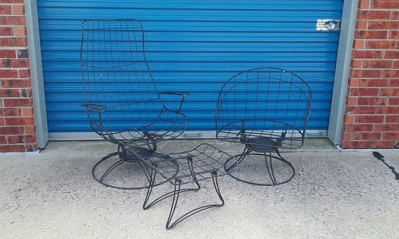 Pair Mid century homecrest wire metal patio chairs by Arockturners