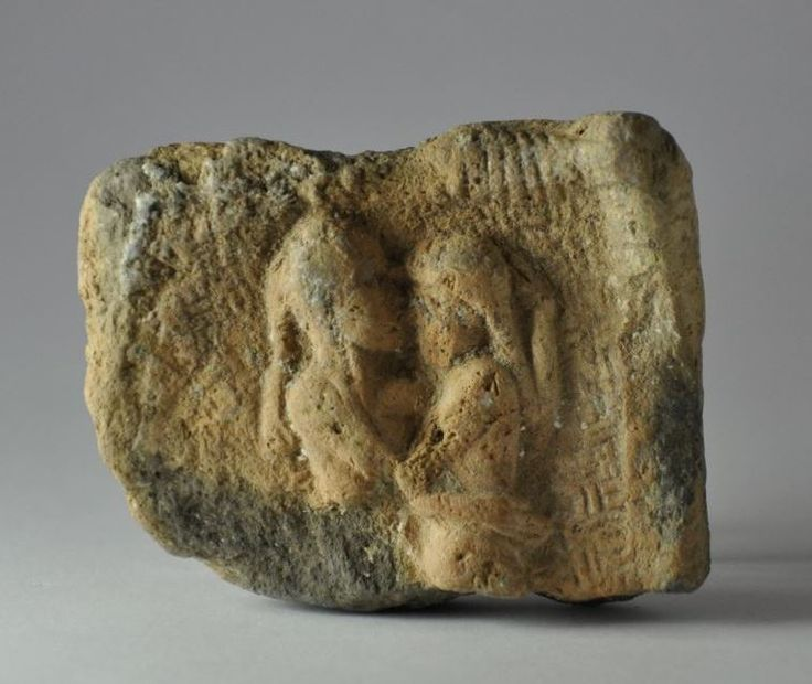 Gilgamesh, Mesopotamian art, Babylonian relief, Gilgamesh and Inanna in love, Mesopotamian erotic relief pottery in shape of bed, 3rd millenium B.C. 5 cm high. Private collection