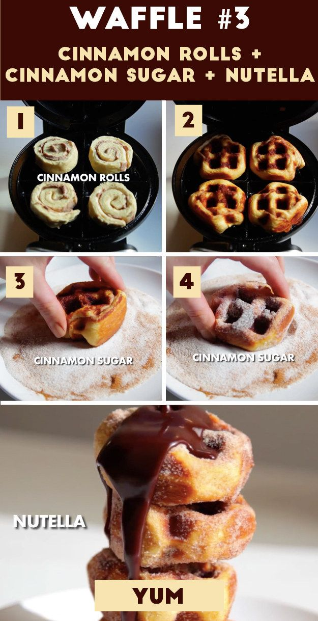 Waffle 3 (THE CHURRO WAFFLE): Cinnamon Rolls + Cinnamon Sugar + Nutella Drizzle | Here Are 4 Borderline Genius Waffles You Need To Try