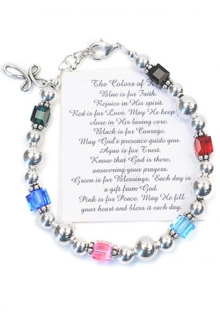 Sterling Silver Religious Jewelry - Colors of Faith Bracelet