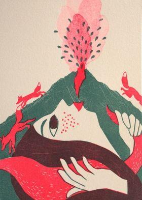 Femme volcan Evelyne Mary Linogravure