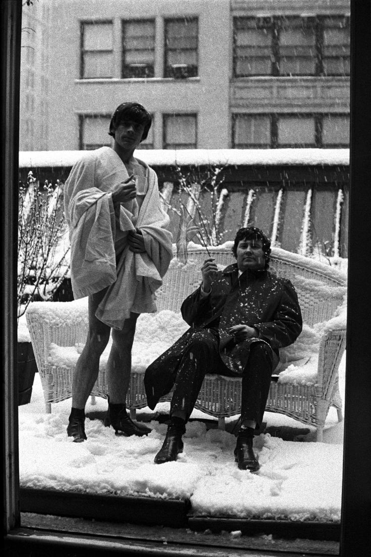 David Bailey and Terence Donovan on the roof of Jerry Schatzberg's New York studio in 1964.