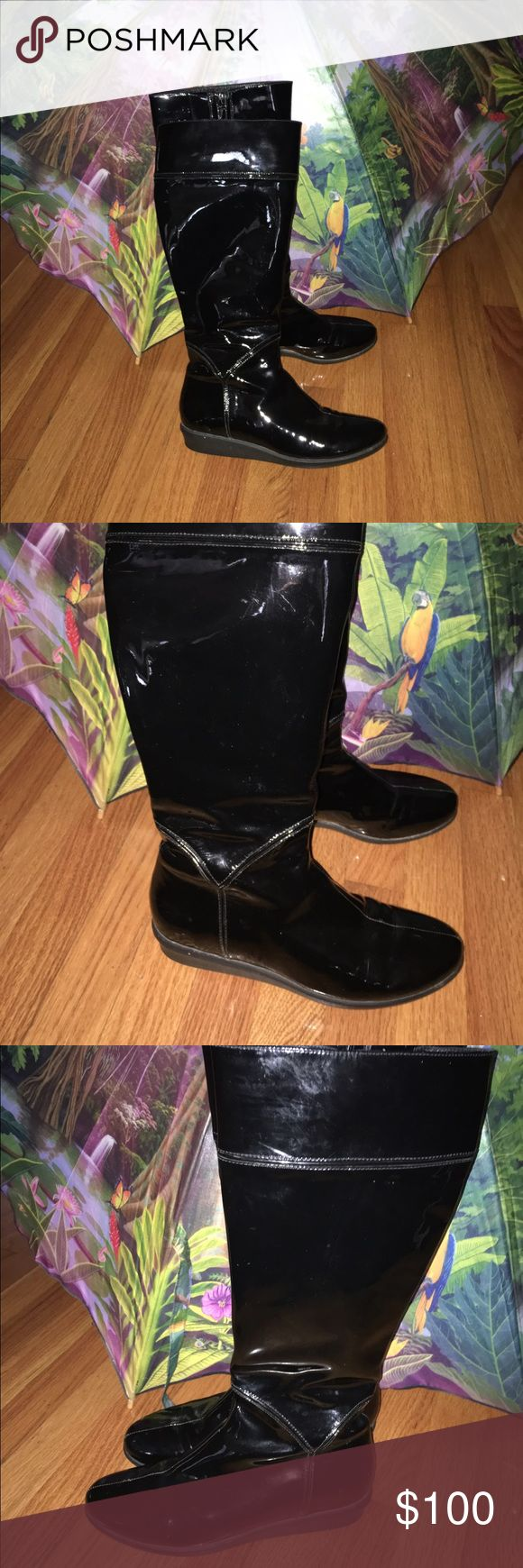 "Cole Haan Patent Leather Boots- offers considered Water proof boots with NIKE AIR Technology.  Approximate measurements: Wedge Heels measure: 1.125"" Shaft height 16"" Circumference 15.5"" Rubber Logo Outsole length from tip to heel: 10.125"" Outsole width at widest point: 3.375"" Full Zipper w/ tassel pull minor wear on the front left toe seam and only a few minor scuffs. Cole Haan Shoes Winter & Rain Boots"