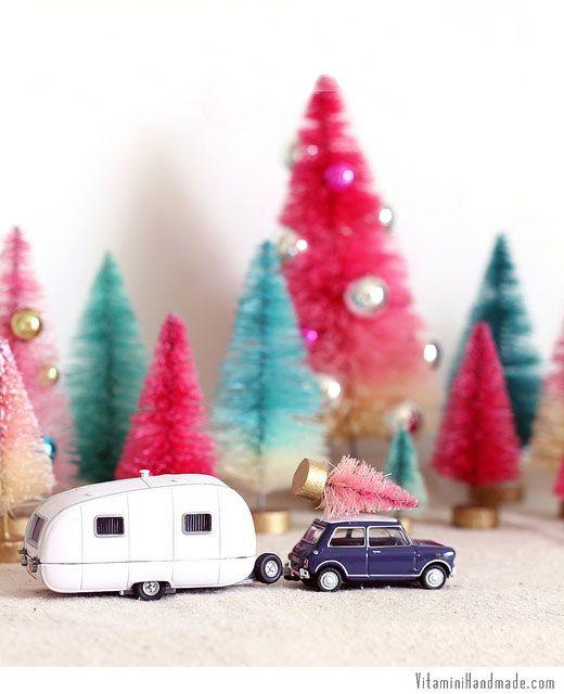 10 Cool Yule-Themed DIYs - DIY Bottle Brush Trees by  Vitamini Handmade