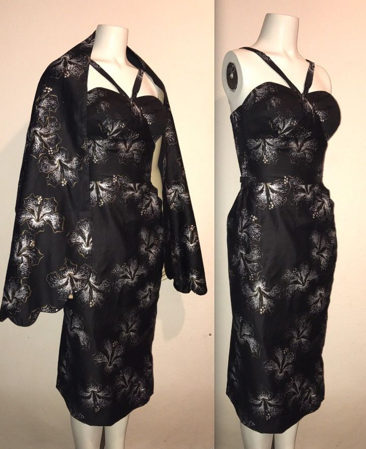 Rare Vtg 50s Alfred Shaheen Black Gold Wrap Shaw Tight Fitted Wiggle Dress Vlv
