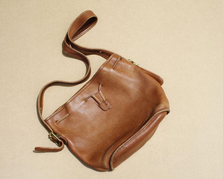 1970s Tan Leather Coach Bucket Bag