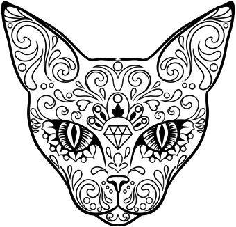 tribal sugar skulls   cool design, cat, tribal, tattoo, sugar skull - t-shirt - Starting at ...