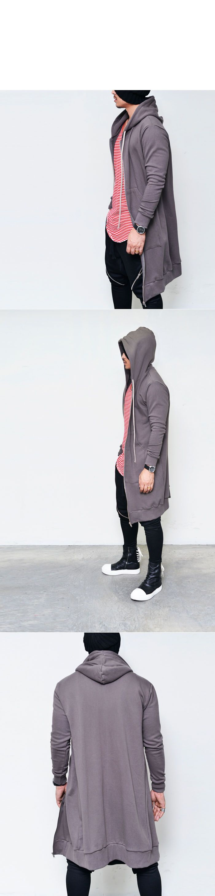 Tops :: Hoodies :: Extended Long Zip Up Hood Jacket-Hoodie 88 - Mens Fashion Clothing For An Attractive Guy Look