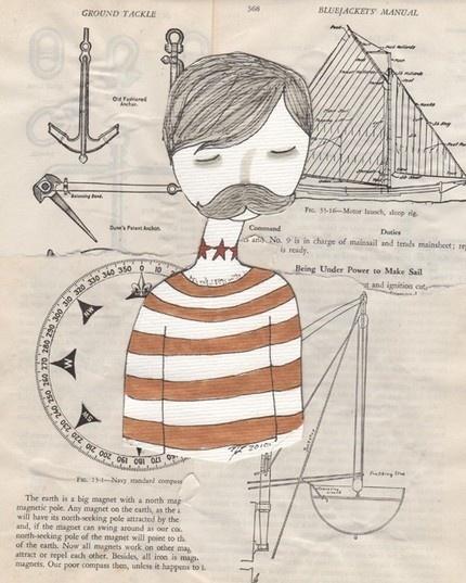 sailor mixed media collage print (nan lawson)