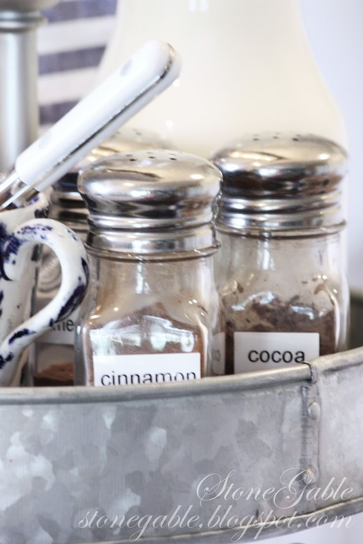 Use Simple (Salt and Pepper) Shakers - For the Coffee station, Hot Chocolate Station, or any other station where the condiments do not need to be completely covered <3 this idea.