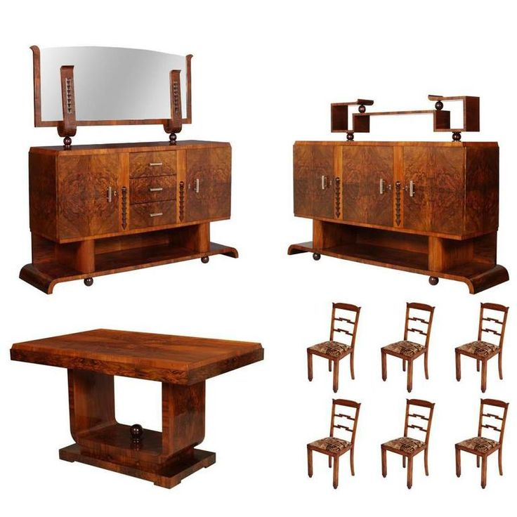 1930s Italian Art Deco Dining Room Suite Set Osvaldo Borsani in Burl Walnut | From a unique collection of antique and modern dining room sets at https://www.1stdibs.com/furniture/tables/dining-room-sets/