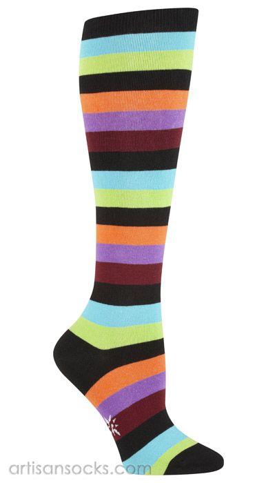 PLUS SIZE Sock it to Me Bryce T Multicolored Striped Knee High Socks from Artisan Socks www.artisansocks.com