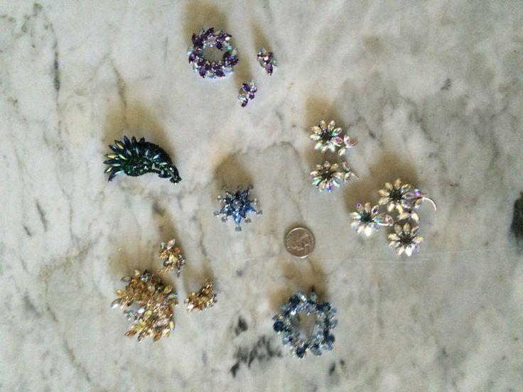 vintage lot of earrings and brooch crystal rhinestone  1950 Sherman