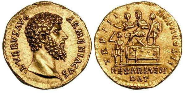 Lucius Verus gold aureus. 164 AD. L VERVS AVG ARMENIACVS, bare head right / REX ARMEN DAT TR P IIII IMP II COS II, Verus, flanked by lictor shouldering fasces & another standing attendant, seated left on camp chair on platform, extending his right hand to crown Armenian king who stands left before platform, raising his right hand to guide the crown onto his head