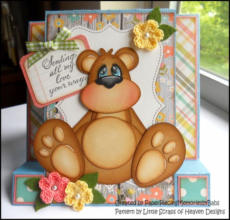 Bear Greeting Card Created by Paper Piecing Memories by Babs