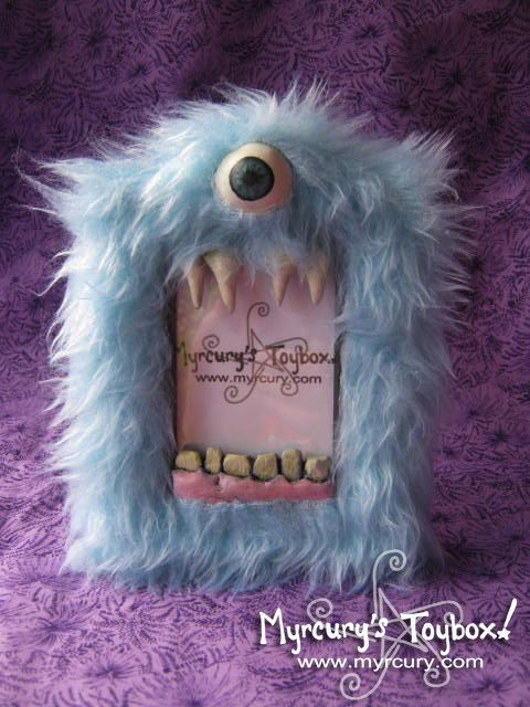 MONSTER Blue Furry Cyclops Yeti Picture Frame  by MyrcurysToybox