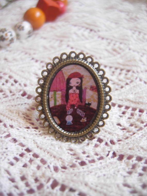 The Fortune Teller  art illustrated adjustable ring by eltsamp, $20.00