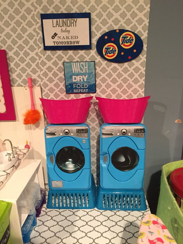 AG washer and dryer made from baby wipe containers and $1 store baskets