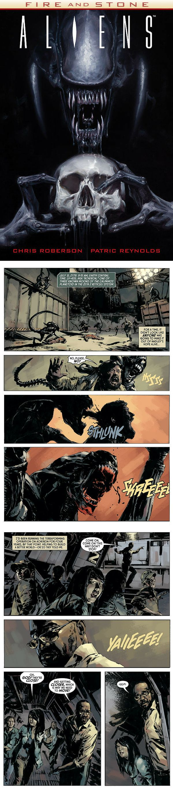Aliens: Fire & Stone by Chris Roberson & Patric Reynolds Part 2 in the crossover Fire & Stone event from Dark Horse Comics