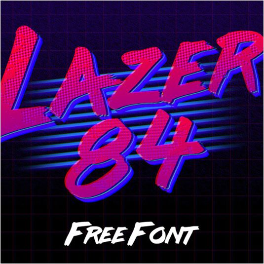 Free font! Lazer 84 is a retro-style brush typeface inspired by the 80s