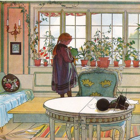 Carl Larsson and the Swedish home. Late 19th century. Look at all the colors. Quite a contrast to the modern monochromatic look.